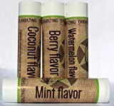 Organic Lip (4 Balm pack) by Arnies Amazing - Organic Medicated Moisturizing Lip Care Sticks - Bulk Pack Of All Natural Flavors Coconut, Mint, Watermelon and Berry - With Shea Butter and Vitamin E for Lip Repair