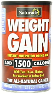 Naturade Weight Gain Instant Nutrition Drink Mix, Vanilla , 16.93 Ounces