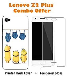 Lenovo Z2 Plus Minions Printed White Hard Back Cover with Premium Tempered Glass Combo By Case Cover