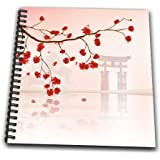 3dRose db_116168_2 Beautiful Japanese Sakura Red Cherry Blossoms Branching Reflecting Over Water Oriental Vector Design-Memory Book, 12 by 12-Inch