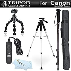 Tripod Accessory Bundle Kit For Canon EOS Rebel T5i, T4i,(650D) T3i, T2i, T3, EOS 60D, EOS 70D Digital SLR Camera Includes 57 Inch Pro Tripod + 67 Inch Monopod + 10