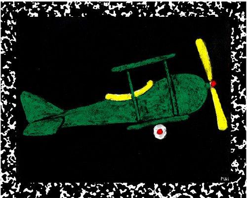 Green Frog Art Wall Decor, Airplane - Recess III - 1