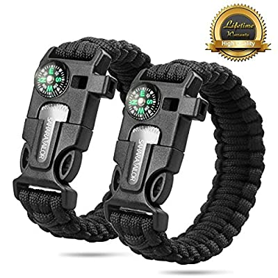 "2PCS PACK 9"" Multifunctional Paracord Bracelet, Sahara Sailor Outdoor Survival Kit W Compass Flint Fire Starter Scraper Whistle for Hiking Camping Emergency More by Sahara Sailor"