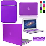 "LOVE MY CASE / BUNDLE DEEP PURPLE Hard Shell Case with matching KEYBOARD Skin and NEOPRENE Sleeve Cover for Apple MacBook Air 13 inch (13"") A1369 / A1466 [Will NOT fit MacBook Pro Models]"