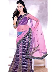 Exotic India Pink and Purple Wedding Lehenga-Sari with All-Over Metallic - Pink