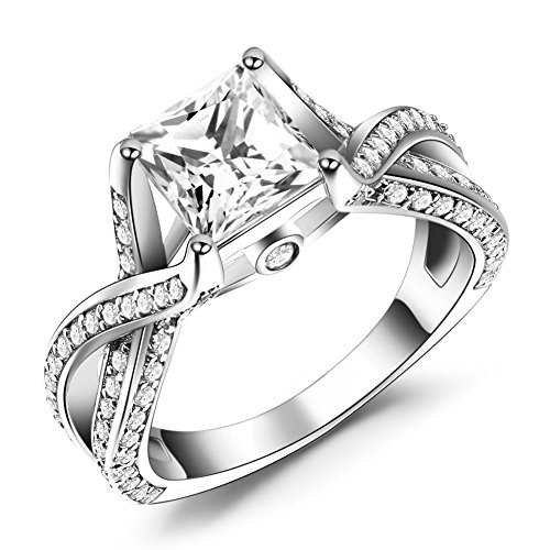 Caperci Sterling Silver Princess Cut White CZ Solitaire Engagement Ring Size 6 (Engagement Rings Princess Cut compare prices)