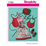Simplicity Pattern 1794A Extra Small Large Babies Dress and Accessories