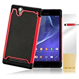 32nd® Shock proof heavy duty protective dual rubber case cover for Sony Xperia T2 Ultra + screen protector, cleaning cloth and touch stylus - Red