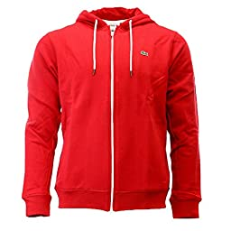 Lacoste Classic Warm Up Track Fleece Hooded Sweat Jacket - Lighthouse Red/White - Mens - XXXX-L