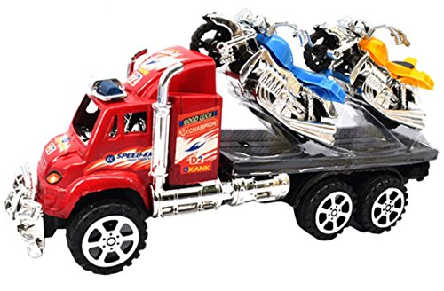 Happy Cherry Baby Boys Kids Toddlers Container Truck Trailer Toy Vehicle Engineering Ready to Run Car Toy with 2 Motorcycle Motorbikes (Motorcycle Toy Trailer compare prices)