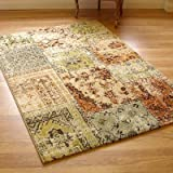 Woodstock 32847-6342 Cream, Green & Terracotta Panel Design Rug