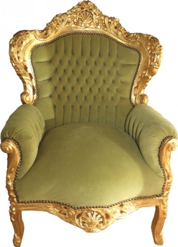 Casa Padrino Baroque Armchair King jade green / gold
