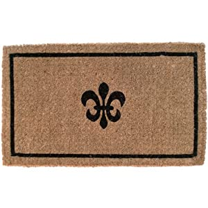 Entryways Fleur Dy Lys Extra-Thick Hand Woven Coir Doormat, 36 by 72-Inch, Black