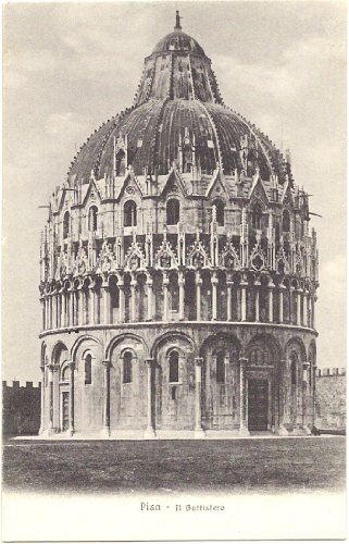 1920s Vintage Postcard The Baptistery Pisa Italy