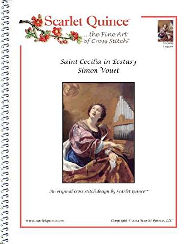 Scarlet Quince VOU001lg Saint Cecilia in Ecstasy by Simon Vouet Counted Cross Stitch Chart, Large Size (Ermine Robe)