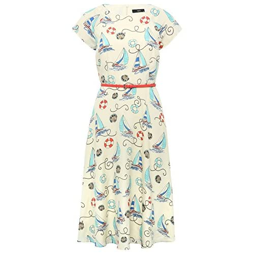 M&Co Ladies Multi Colour Nautical Print Belted Short Sleeve Tea Day Dress