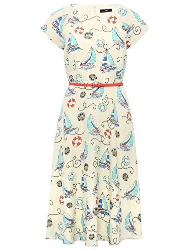 M&Co Ladies Multi Colour Nautical Print Belted Short Sleeve Tea Day Dress Multicolour 18