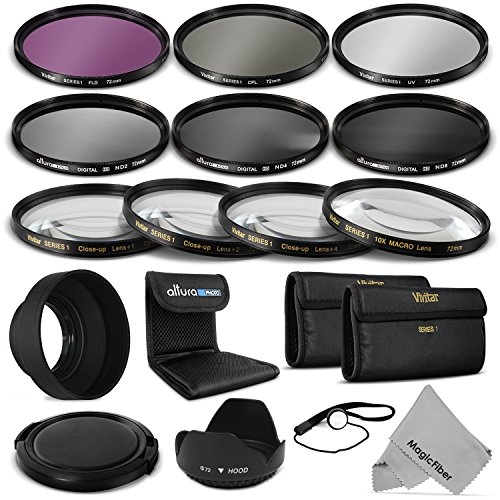 72Mm Complete Lens Filter Accessory Kit For Canon (Ef 35Mm F/1.4L, Ef 85Mm F/1.2L Ii, Ef 135Mm F/2L), Nikon (85Mm F/1.4, 18 200Mm F/3.5 5.6G) Lenses - Includes: Vivitar Filter Kit (Uv, Cpl, Fld) + Vivitar Macro Close Up Set (+1, +2, +4, +10) + Altura Phot