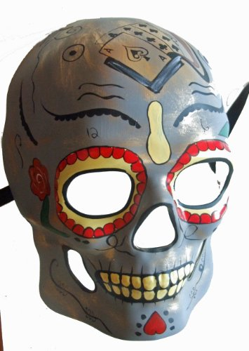 Day of the Dead Mask Gray Full Halloween Mardi Gras Costume Party