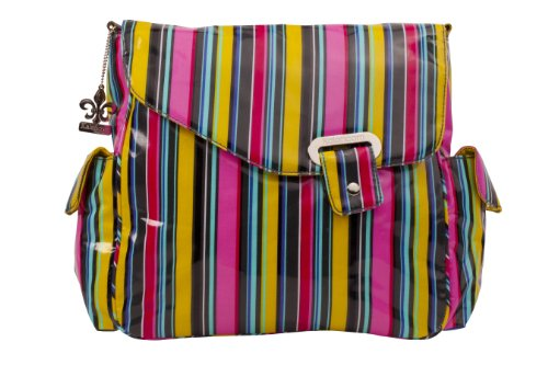 Kalencom Ozz Coated New Flap Bag, Petal Stripes