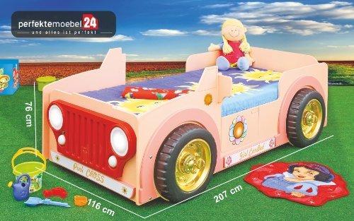 JEEP PINK Bett Kinderbett Autobett Jugendbett Spielbett inkl. Lattenrost und Matratze kurze Lieferzeit! LED Beleuchtung!