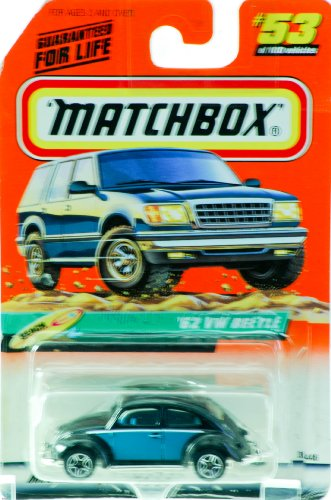 1998 - Mattel - Matchbox - #53 of 100 Vehicles - '62 VW Beetle - Black & Blue - Beach Edition - Series 11 - New - Out of Production - Limited Edition - Collectible - 1