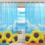 ユキオ(UKIO)紗のカーテン レースカーテン 人気 可愛い お洒落 スタイルカーテン 可愛いひまわり イエロー 花 靑空 幅140丈210 2枚セット スタイルカーテン