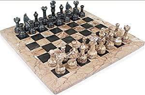 "16"" x 16"" Fossil and Red Onyx Stone Chess Sets"