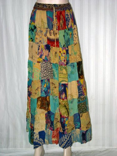 Womens Fashion Skirt Blue-green with Blond Color Patchwork Floral Print Fashion Skirt 38&quot; Long Free Shipping