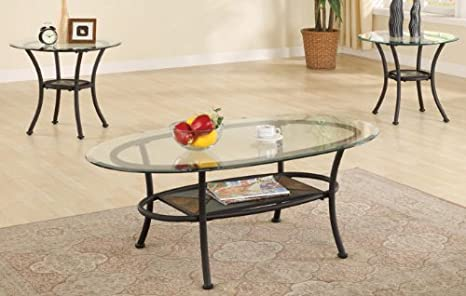 3pc Metal Coffee Table & End Tables Set in Black Finish