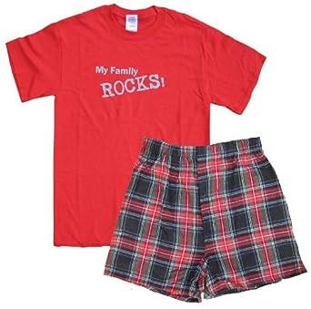 My Family Rocks Red Shirt Short Set - Youth Small, S/S, RBL Plaid Shorts