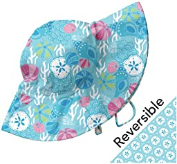i play Baby Girls\' Reversible Brim Sun Hat (Baby) - Aqua - Newborn