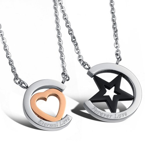 Stainless Steel Couple Necklace Heart Star Pendant Rhinestone Cz Chain Love 731