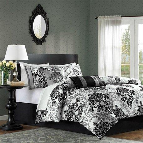 Madison Park Bella 7 Piece Comforter Set - Black - Queen