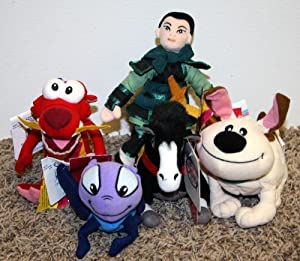 Rare Disney Mulan Complete Set of 5 Bean Bag Plush Dolls Including Mulan Khan Horse, Mulan Mushu Dragon, Mulan Cricket, Mulan Warrior, and Mulan Little Brother Dog Mint with Tags