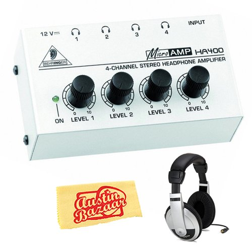 Behringer Ha400 Ultra-Compact 4-Channel Stereo Headphone Amplifier Bundle With Headphones And Polishing Cloth