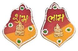 999Store handmade multicolour wooden shubh labh diwali door hanging parada