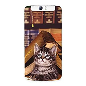 Enticing Cat Book Back Case Cover for Oppo N1