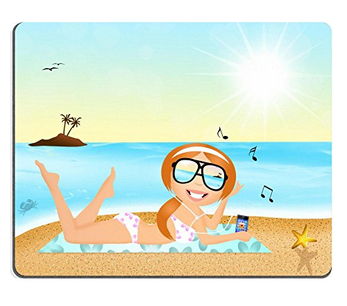 [MSD Natural Rubber Gaming Mousepad girl with headphone music on the beach Image ID 27428180] (Ms Swimming Costume)