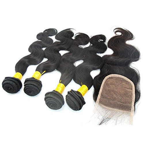 LaNova-Beauty-Ladys-Peruvian-Human-Hair-Body-Wave-Hair-Weft-4pcs-Mix-Size-10-28inch-and-1pc-Lace-Closure-44-10-20inch-Natural-Color-5pcslot