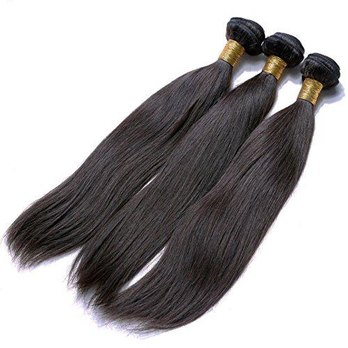 Heiheimai 100% Brazilian Remy Silky Human Hair Extension 3 Packs of 16″16″16″