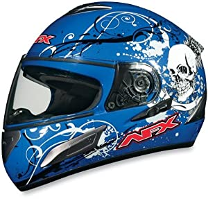 AFX FX-100 Full Face Motorcycle Helmet Blue Skull XXL 2XL