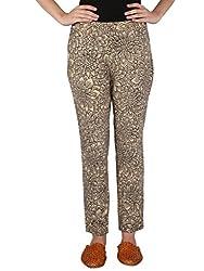 Beige Slim Fit Cotton Pants With Hand Painted Kalamkari