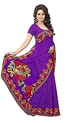 Design Willa Smooth feel Art crepe Sari (DWPC039,Purple)