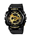 Baby-G BA-110-1AER Women's Quartz Watch with Gold Dial Analogue - Digital Display and Black Resin Strap