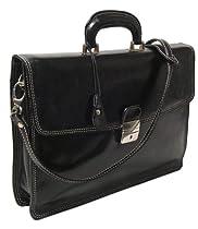 Floto Luggage Milano Brief Attache, Black, Medium