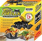 Tasty Tortilla Non Stick Steel Tortilla Pans, 4 Tortilla Mold and 1 Sauce Bottle 8 oz