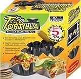 Tasty Tortilla Non Stick Steel Tortilla Pans, 4 Tortilla Mold and 1 Sauce Bottle 8 oz