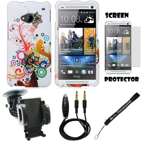 Floral Design 2 Piece Cover Shield Protector Case For Htc One M7 4.7-Inch Super Lcd 3 (Newest 2013 Version) + 3.5Mm Stereo Audio Cable With Built In Microphone + 360° Car Rotatable Windshield Mount Kit + Anti Glare Screen Protector Guard + An Ebigvalue Tm