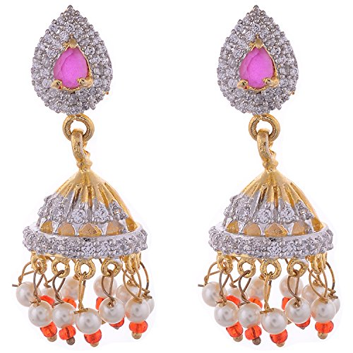 Aditri Aditri Gold-Plated Jhumki Earrings For Women (White) (Yellow)
